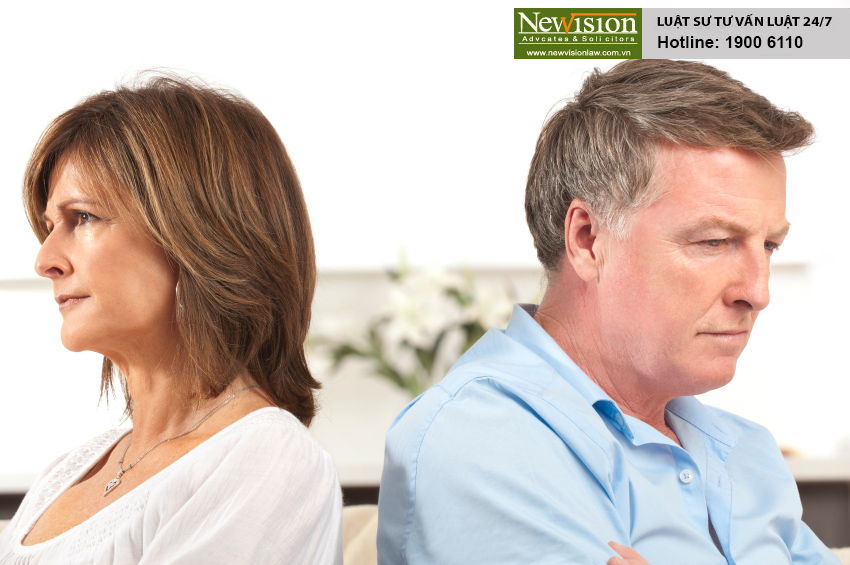 Mature couple fighting back to back