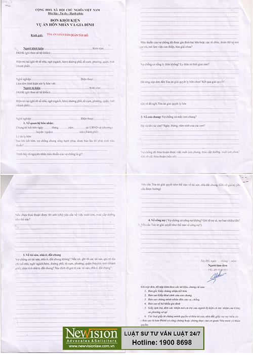 mẫu đơn xin ly hôn tại Tây Hồ