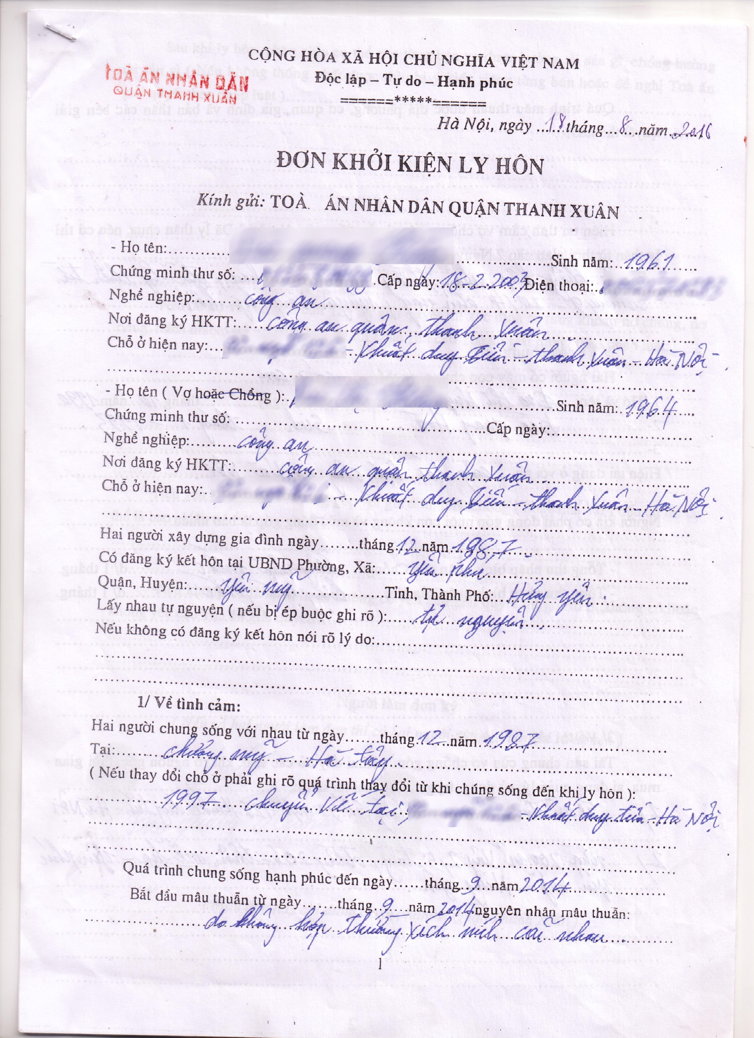 Cách khai đơn xin ly hôn tại quận Thanh Xuân