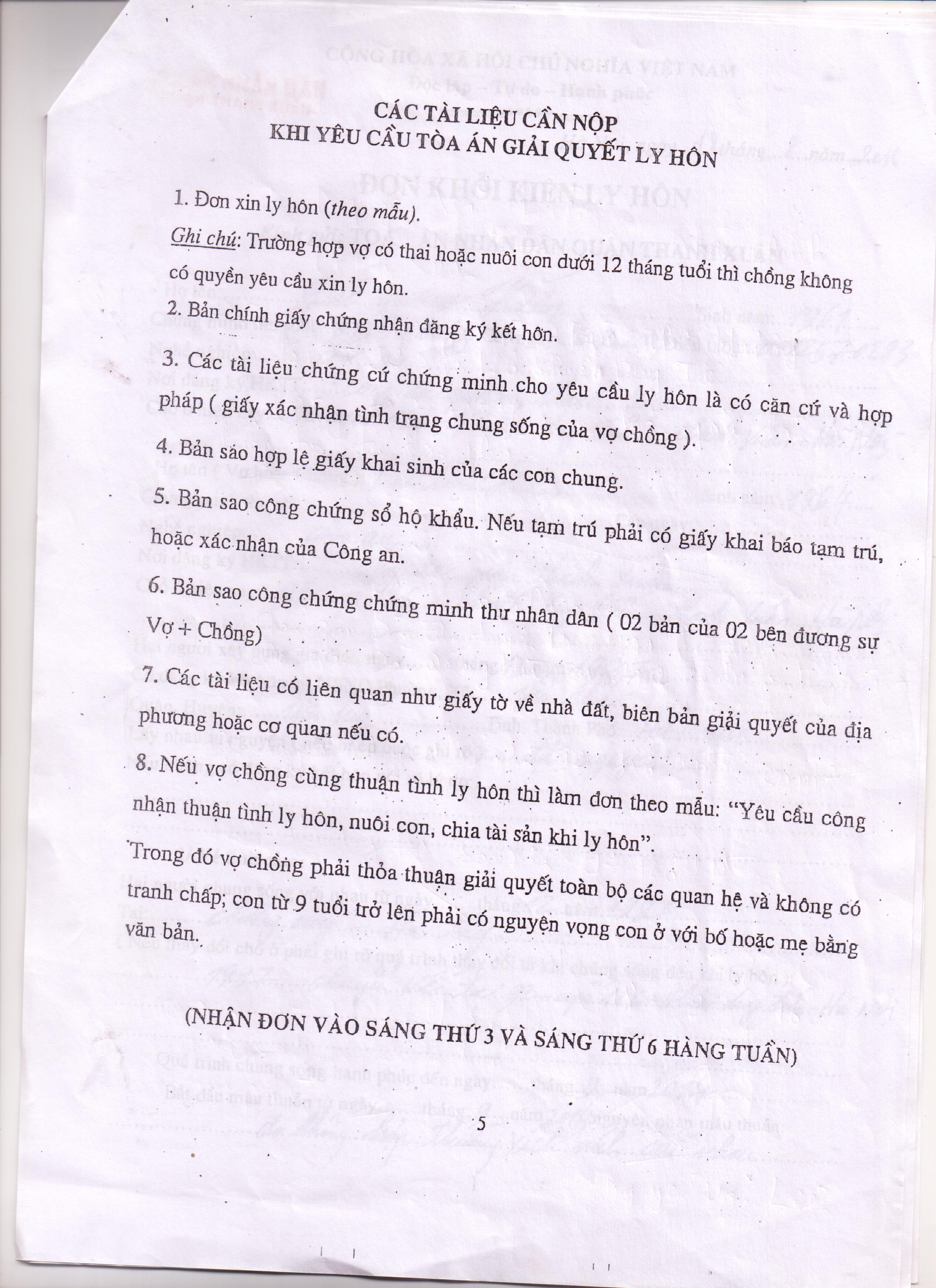 Mẫu đơn xin ly hôn tại quận Thanh Xuân