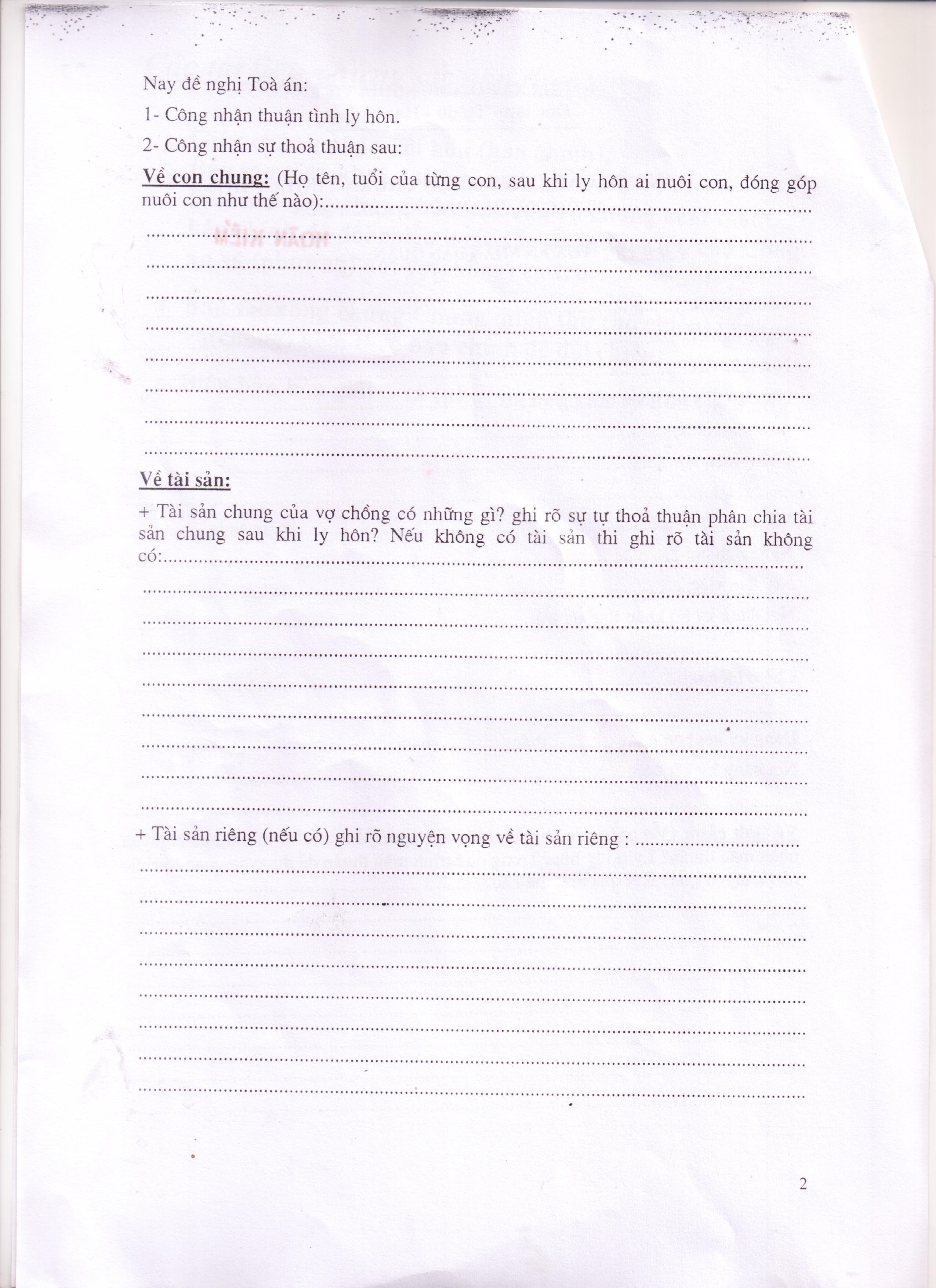 Mẫu đơn xin ly hôn thuận tình tại quận Hoàn Kiếm
