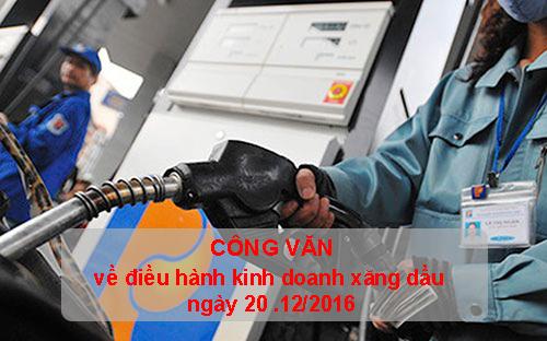 Công văn về điều hành kinh doanh xăng dầu ngày 20/12/2016