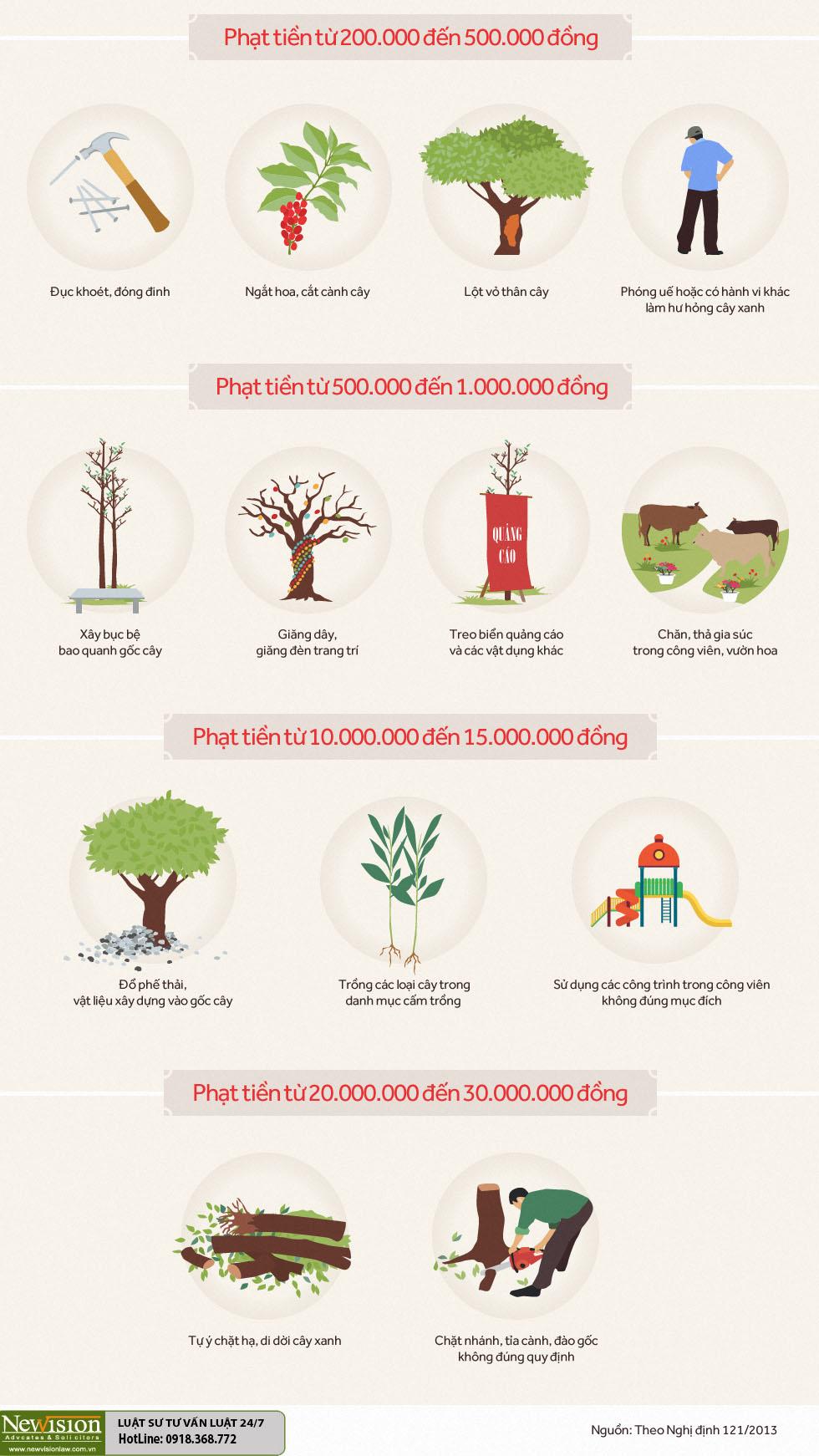 Ngắt hoa, lột vỏ cây ở vỉa hè bị phạt 500.000 đồng