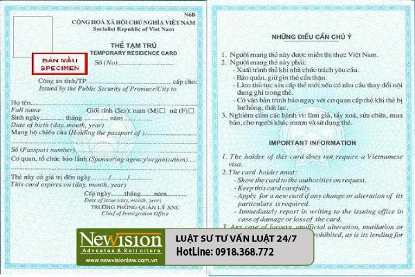 Thẻ tạm trú cho người nước ngoài có thời hạn bao lâu?