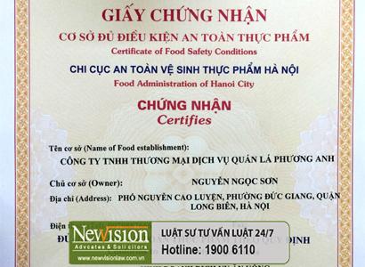 hang-luat-newvision-xin-cap-thanh-cong-giay-chung-nhan-co-du-dieu-kien-ve-sinh-toan-thuc-pham