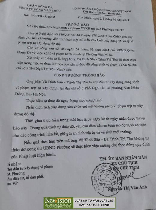Thông báo số 107/TB-UBND của UBND phường Văn Miếu Về việc tháo dỡ công trình vi phạm TTXD tại số 5 Ngô Tất Tố