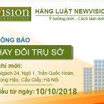 Thông báo thay đổi địa chỉ trụ sở làm việc Văn Phòng Luật Newvision Law
